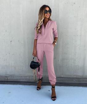 Γυναικείο σετ μπλούζα και παντελόνι 5301 ροζ