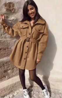 Γυναικείο παλτό βελουτέ 5322 καμηλό