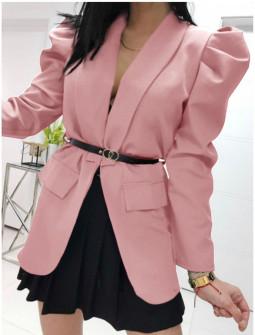 Γυναικείο σακάκι με ζώνη 5499 ροζ
