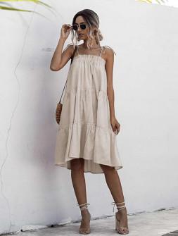 Γυναικείο φόρεμα με λεπτές τιράντες 5170 μπεζ