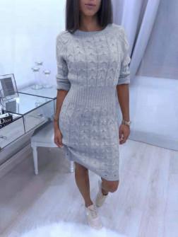 Γυναικείο πλεκτό φόρεμα 1028 γκρι