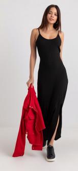 Γυναικείο μακρύ φόρεμα 13508 μαύρο