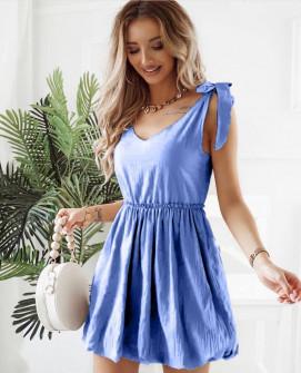 Γυναικείο φόρεμα με εντυπωσιακές τιράντες 8088 μπλε