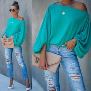 Γυναικεία μπλούζα με φουσκωτό μανίκι 2408 τυρκουάζ