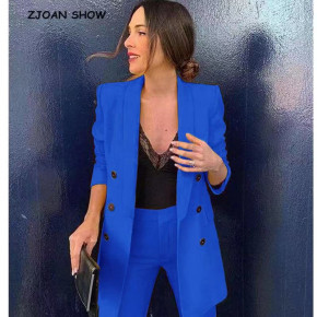 Γυναικείο σετ σακάκι και παντελόνι 5013 μπλε
