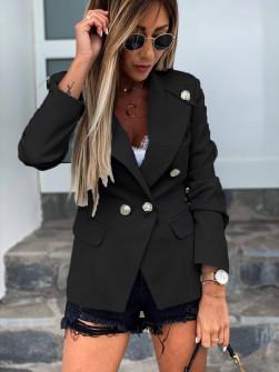 Γυναικείο κομψό σακάκι με φόδρα 5272 μαύρο
