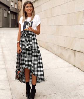 Γυναικεία ασύμμετρη φούστα 5257 άσπρο