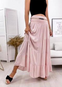 Γυναικεία φούστα με ζώνη 3863 ροζ