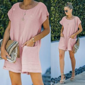 Γυναικεία χαλαρή ολόσωμη φόρμα 21262 ροζ