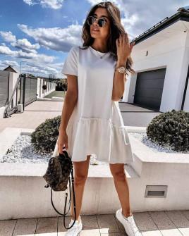 Γυναικείο κοντό χαλαρό φόρεμα 8212 άσπρο