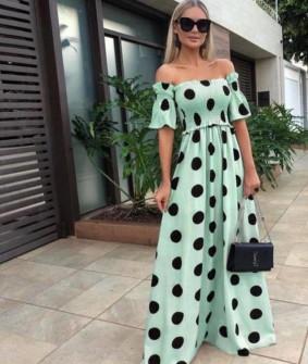 Γυναικείο μακρύ φόρεμα πουά 5191 μέντα