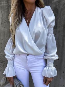Γυναικεία μπλούζα με εντυπωσιακό μανίκι 8553 άσπρη