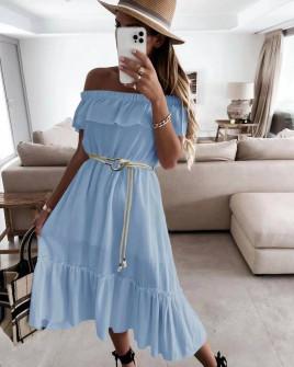 Γυναικείο φόρεμα με ζώνη 5695 γαλάζιο