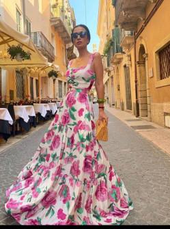 Γυναικείο μακρύ φόρεμα με φλοράλ ντεσέν 5561