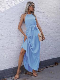 Γυναικείο μακρύ φόρεμα με ζώνη 5814 γαλάζιο