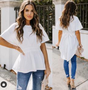 Γυναικείο μπλουζοφόρεμα με κορδόνι 5063 άσπρη