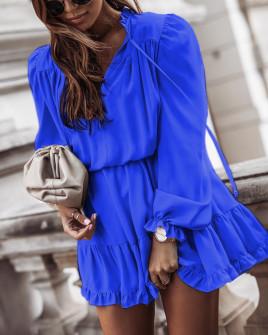 Γυναικείο εντυπωσιακό φόρεμα 7105 μπλε