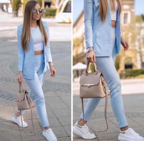 Γυναικείο σετ σακάκι και παντελόνι 5007 γαλάζιο