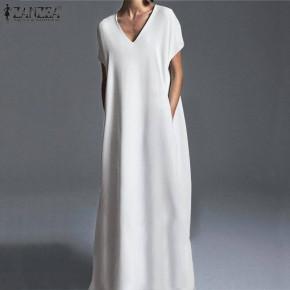 Γυναικείο plus size μακρύ φόρεμα 21476 άσπρο