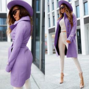 Γυναικείο κομψό παλτό με φόδρα 6083 λιλά