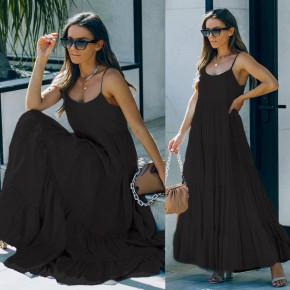 Γυναικείο μακρύ χαλαρό φόρεμα 8105 μαύρο