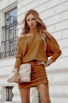 Γυναικείο σετ φούστα και μπλούζα 3495 καμηλό