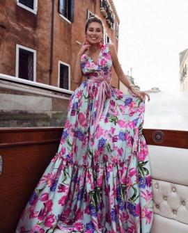 Γυναικείο μακρύ εντυπωσιακό φόρεμα 21311