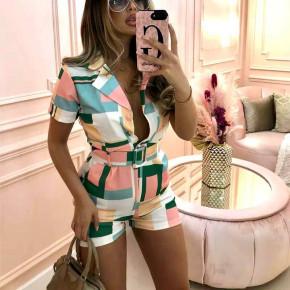 Γυναικεία πολύχρωμη ολόσωμη φόρμα με ζώνη 582701