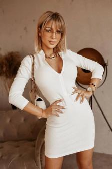 Γυναικείο εφαρμοστό φόρεμα 5536 άσπρο