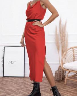 Γυναικείο φόρεμα σατέν 21070 κόκκινο
