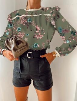 Γυναικεία μπλούζα με print 5341 σκούρο πράσινο