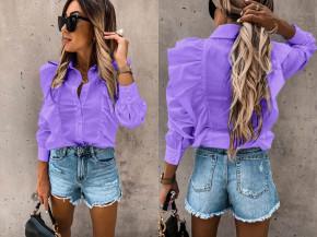 Γυναικείο πουκάμισο με βολάν 8554 μωβ