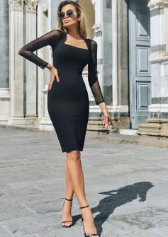 Γυναικείο φόρεμα με μανίκι τούλι 88528