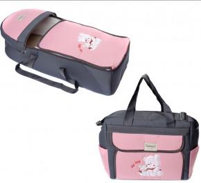 Σετ πορτ μπεμπέ και τσάντα 00453 γκρι/ροζ