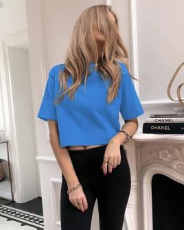 Γυναικείο μονόχρωμο κοντομάνικο 88820 μπλε