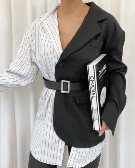 Γυναικείο σακάκι-πουκάμισο με ζώνη 21010