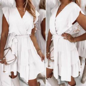 Γυναικείο φόρεμα κρουαζέ 5708 άσπρο