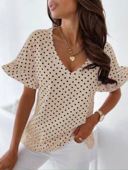 Γυναικεία μπλούζα πουά 5638 μπεζ