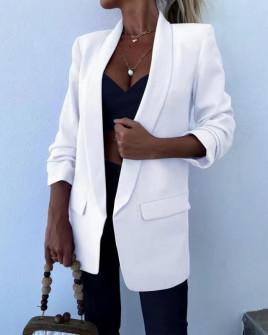 Γυναικείο σακάκι με φόδρα 5783 άσπρο