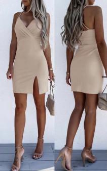 Γυναικείο εφαρμοστό φόρεμα με εντυπωσιακή πλάτη 5852  μπεζ