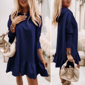 Γυναικείο φόρεμα με κουκούλα 5968 σκούρο μπλε