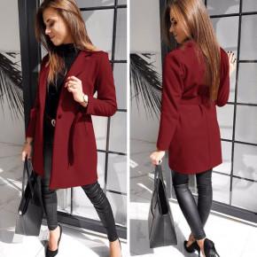 Γυναικείο παλτό με ζώνη και φόδρα 20501 μπορντό