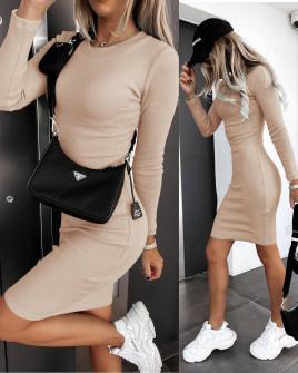 Γυναικείο εφαρμοστό φόρεμα 6008 μπεζ