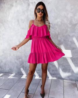 Γυναικείο κοντό κλος φόρεμα 5700 φούξια
