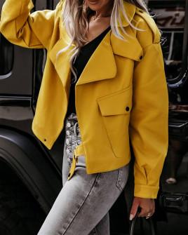 Γυναικείο μπουφάν δερματίνης 5938 κίτρινο