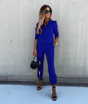 Γυναικείο σετ μπλούζα και παντελόνι 5301 μπλε ρουα