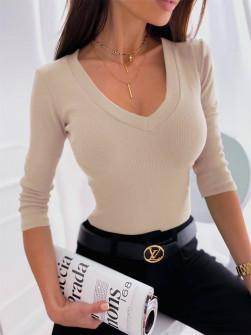 Γυναικεία μπλούζα με στρογγυλή λαιμόκοψη 6032 μπεζ
