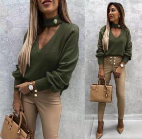 Γυναικεία εντυπωσιακή μπλούζα 5459 σκούρο πράσινο