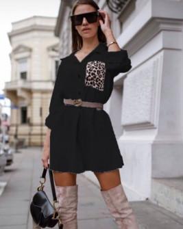 Γυναικείο μπλουζοφόρεμα με εντυπωσιακή τσέπη 2553 μαύρο