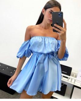 Γυναικείο έξωμο φόρεμα 44587 γαλάζιο